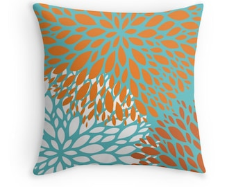 Orange Turquoise Flower Decorative Throw Pillow Cover