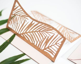 Rose Gold Tropical Laser Cut Palm Wedding Invitation for a Destination Wedding