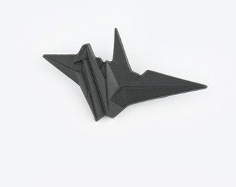 PORCELAIN  BROOCH CRANE/Black porcelain/Porcelain origami/Origami pin/Origami brooch/Porcelain pin/Japaneese origami/Origami crane