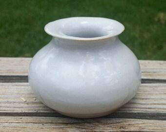 Small White Ceramic Vase - Hand Built Porcelain Pottery