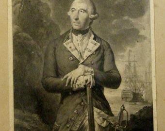 Antique mezzotint print Richard Kempenfelt Esq after Tilly Kettle by Richard Earlom 1782 18c Worldwide freight