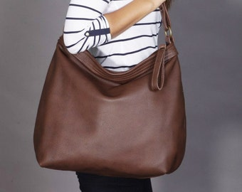 Brown leather hobo bag - Leather purse - Brown leather bag -LARGE HELEN , leather bag