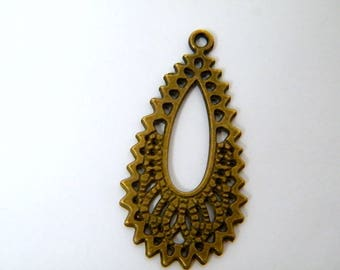 Medium pendant for earrings, bronze, 37 x 20