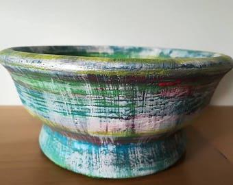 Handpainted Upcycled Handmade vintage Bowl. Solid wood, turned, multi coloured. Decorative display