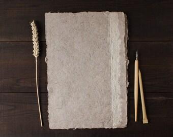 Lace paper, beautiful handmade paper, homemade paper, decorative paper, deckle edge, card making, diy wedding, rustic, single sheet (#20l)