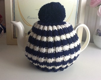 Traditional English Tea Cosy with bobble - 4 to 6 cup pot - navy and cream