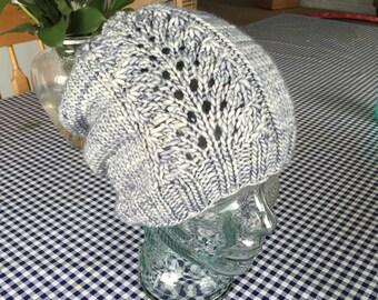 Plume Panel Bulky Knit Hat Pattern/Instant PDF DOWNLOAD PATTERN/Written Pattern/Advanced Beginner Knitting Pattern/Women's Lace Detail Hat