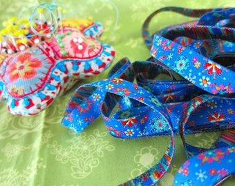 Floral blue farbenmix Ribbon 12mm by the yard