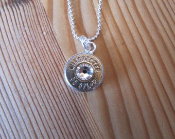Bullet Jewelry , Bullet Necklace, 38 Special Bullet Necklace with Crystal Accents, 2nd Amendment Jewelry, Gifts For Her, Country Wedding