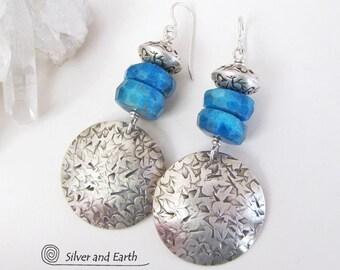 Apatite Sterling Silver Earrings, Blue Apatite Earrings, Handmade Sterling Earrings, Blue Gemstone Jewelry, Artisan Metalsmith Jewelry
