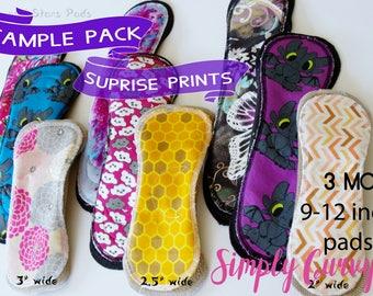 Cloth pad starter set CSP Bundle , Sample cloth pads set Exposed core mama clothCurvy Crescent Moderate cloth pads