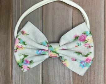 Floral Baby Girl Headband, Bow headband, Little girl Headband, Toddler Headband, Teen headband, Ivory headband, Flower Headband, Photo Props