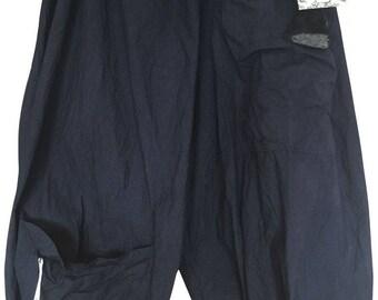 Midnight Blue Linen Festival RitaNoTiara Plus Regular size Oversize Lagenlook Quirky Funky Puffball Balloon Trousers Pants Pockets Layerlook