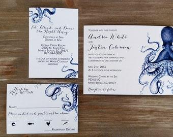 Blue Nautical Octopus Wedding Invitation Suite