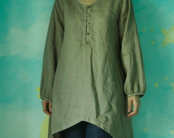 Wanna Be Yours... Long Sleeve Ramie Blouse Hand Dyed In Olive Green