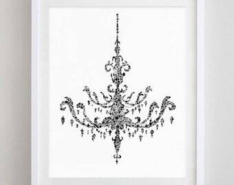 Chandelier Black and White Floral Watercolor Print