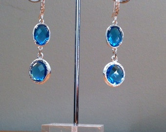 Silver and turquoise/ aqua/ blue crystal earrings