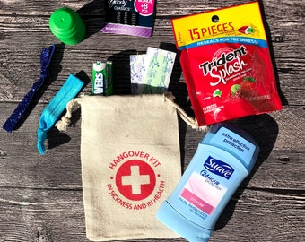 Hangover Kit Gift Bags, Wedding Party Favor Bags, Bachelorette Party Favor Bride Squad Bags, 4x6 Recovery Kit and Survival Kit Bags