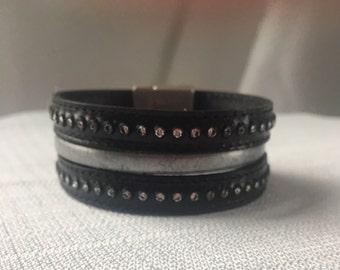 Leather Crystal Studded Wrap Bracelet