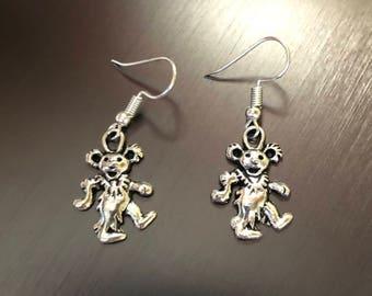 Dancing bear Grateful Dead earrings