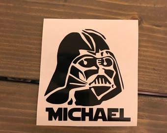 Darth Vader Decal, Personalized Star Wars Vinyl Decal, Yeti Decal, Monogram, Vinyl Monogram Phone Sticker