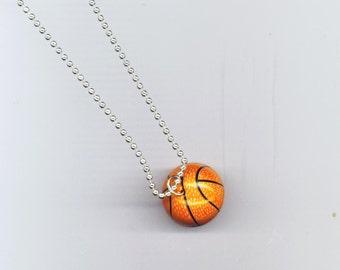 Vintage Basket Ball Pendant Necklace, Basket Ball, Father's Day Sport Charm, Orange& Black Sphere -  Basketball Necklace by enchantedbeas