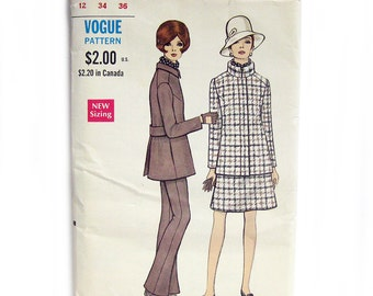1960s Vintage VOGUE Sewing Pattern / Misses' Jacket, Skirt and Pants / Timeless Style / Stand Up Collar / Vogue 7496 / Size 12 UNCUT FF