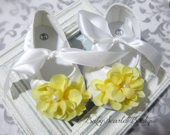 White Satin Baby Girl Soft Sole Shoes