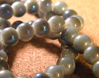 10 pearls 8 mm brass plated - imitation jade 2 gray and blue 7 PE200