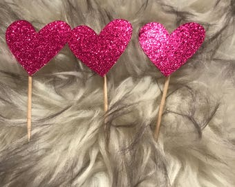 Set of 12 Heart Cupcake Toppers