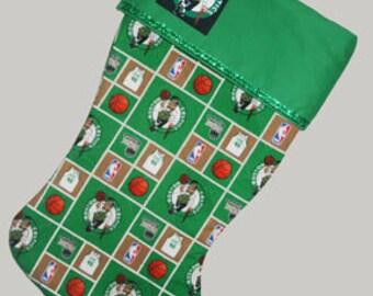 Personalized Boston Celtics Christmas Stocking, Boston Celtics Stocking, Quilted Stocking, Stocking,Boston Celtics, Ready to Ship