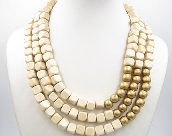 2018 Ivory Necklace,Multi Strand Necklace,Chunky Necklace,Golden Necklace,Bridesmaid Gifts,Wedding Gift idears,Statement Necklace For Women