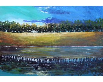 River painting water reflections trees original  acrylic Abstract  Large canvas Impressionist lake reflections Water Modern  36x24
