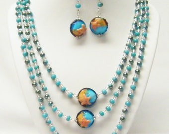 3 Strand Turquoise/Amber Disc w/Bohemian Raindrop Glass Bead Necklace/Earrings Set