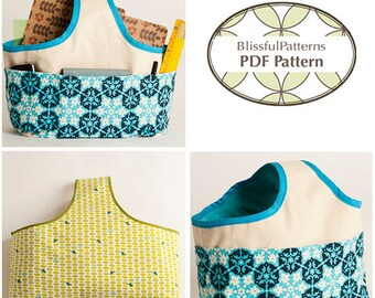 Easy to Sew Fabric Handle Basket PDF Sewing Pattern - two sizes - FREE Shipping - by BlissfulPatterns