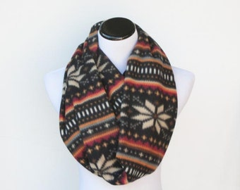 Fair isle infinity scarf warm winter fleece LONG snood scandinavian scarf brown loop scarf - gift idea for her - gift for mom gift for girl