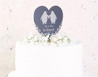 Penguin Heart Wedding Cake Topper