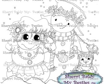 INSTANT DOWNLOAD Digital Digi Stamps Big Eye Big Head Dolls NEW Bestie img002sbcop  My Besties By Sherri Baldy