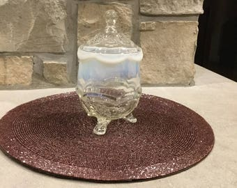 Vintage frosted glass candy jar