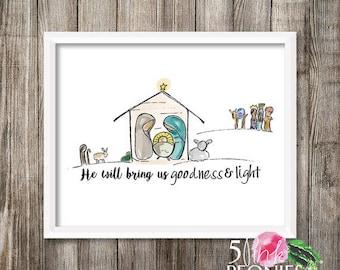 Instant Download - Christmas- Nativity - Manger Scene - Printable  Art - framable print