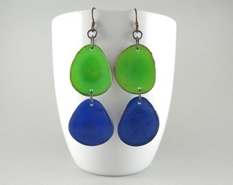 Green and Cobalt Blue Tagua Nut Eco Friendly Earrings with Free USA Shipping SALE #taguanut #ecofriendlyjewelry