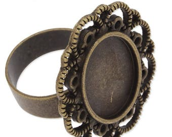 Support ring bronze filigree cabochon 13 x 18 mm.