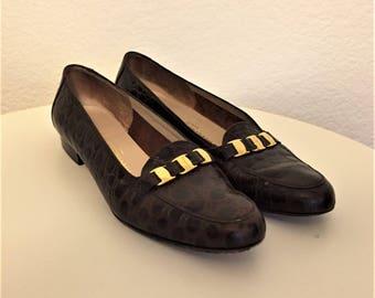 GREAT Vintage Salvatore Ferragamo CROC Leather Loafers BROWN Women's Size 7 B