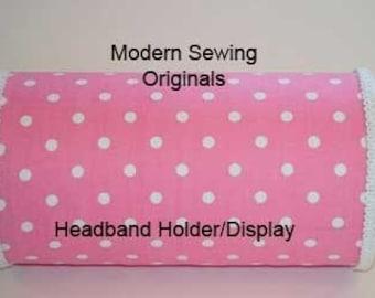 Pink with White Polka Dot Headband Holder