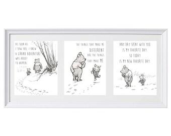 Classic Winnie the Pooh Set of Three Prints Wall Art Nursery Art Set #3