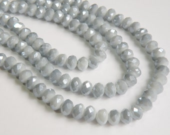 Smoky Silver Gray faceted glass rondelle beads 8x6mm full strand PEGLA-47-3