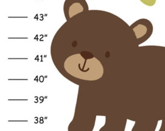 Personalized Woodland Critters Canvas Growth Chart
