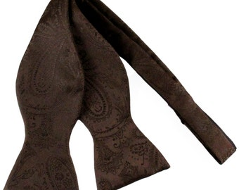 New polyester Men's Paisley Brown Self-Tie Bowtie, for Formal Occasions