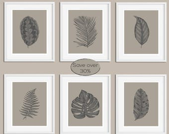 Leaf Print Set, Botanical Print Set, Set of Prints, Wall Art Set, Leaf Prints, Wall Art Prints, Monstera Print, Grey Print, Prints, Wall Art