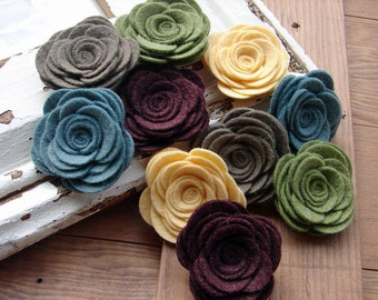 Wool Felt Flowers Large Posies in the Vintage Collection The Original Wool Felt Posies